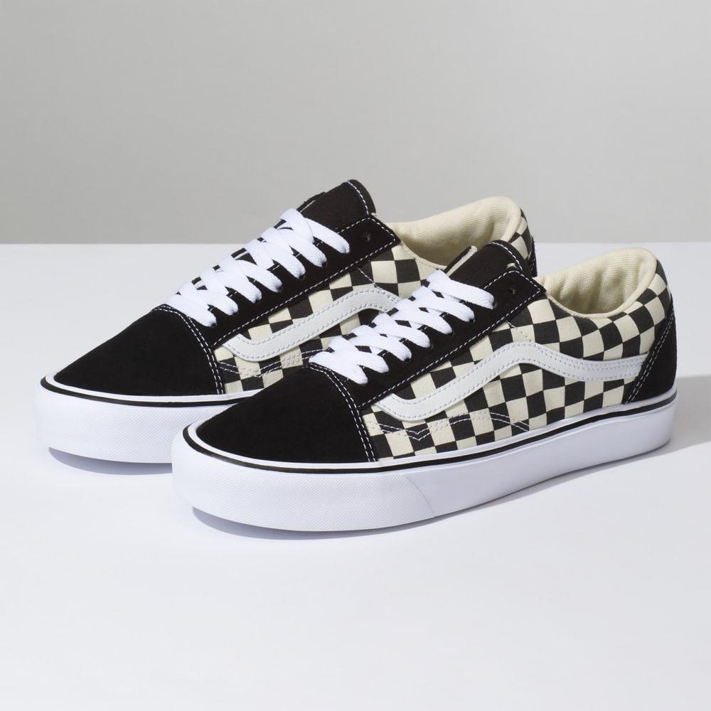 Zapatillas Checkerboard Old Skool Lite De Ante (Checkerboard) Black White d085c4ca876
